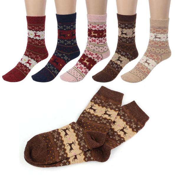 Femmes hiver chaussettes cadeau de Noël chaussette chaude laine mignon flocon de neige cerf confortable
