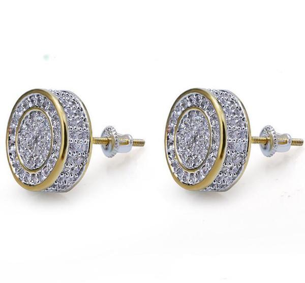 Argent sterling 925 glacé CZ Premium Diamant Grappe Zircone Ronde Vis À Boucle Dormeuse pour Hommes Hip Hop Bijoux