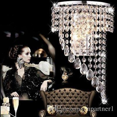 2017 Luxury K9 Crystal LED Wall Lights Crystal Wave Chandelier Curtain Wave LED E14 Bulb Lights Crystal ChandelierS Pendent Hotels Lamp
