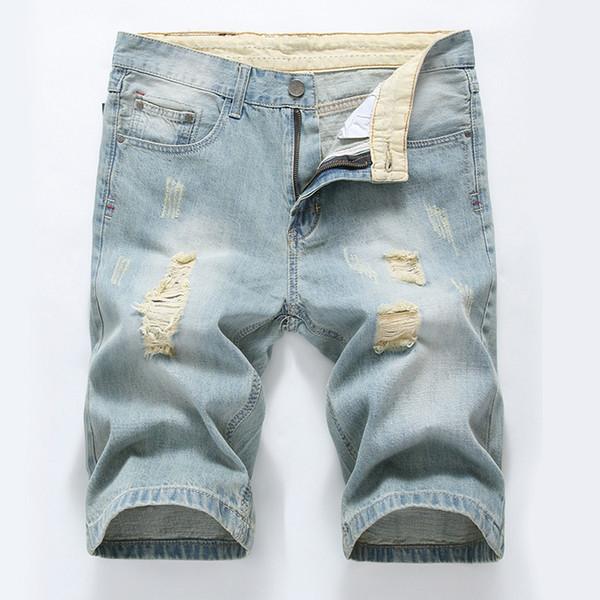 Plus Size 40 Jeans strappati Jeans da uomo causali Pantaloni dritti Mens Short Knee Homme