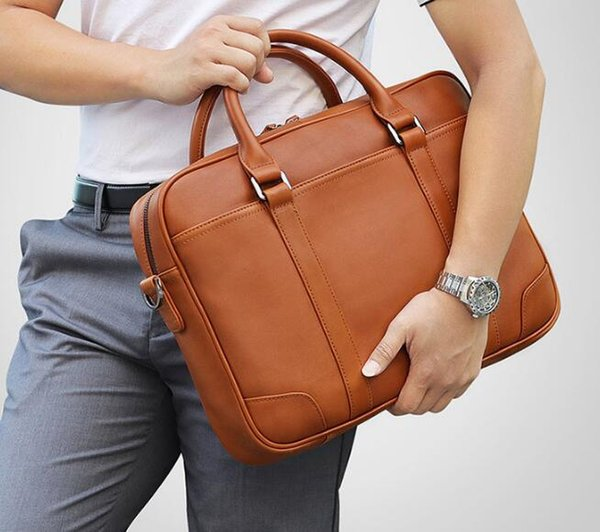 Man Genuine Leather Handbag 14 Inch Computer Package Business Briefcase Concise Practical Affairs Waist Bag Hip Fashion New