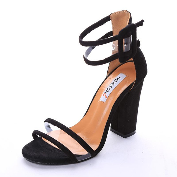 Venta caliente-Súper Alto Zapatos de Las Mujeres Bombas Sexy Claro Transparente Correas de la Hebilla de Verano Sandalias de Tacón Alto Zapatos Zapatos de Fiesta Mujeres RD912509