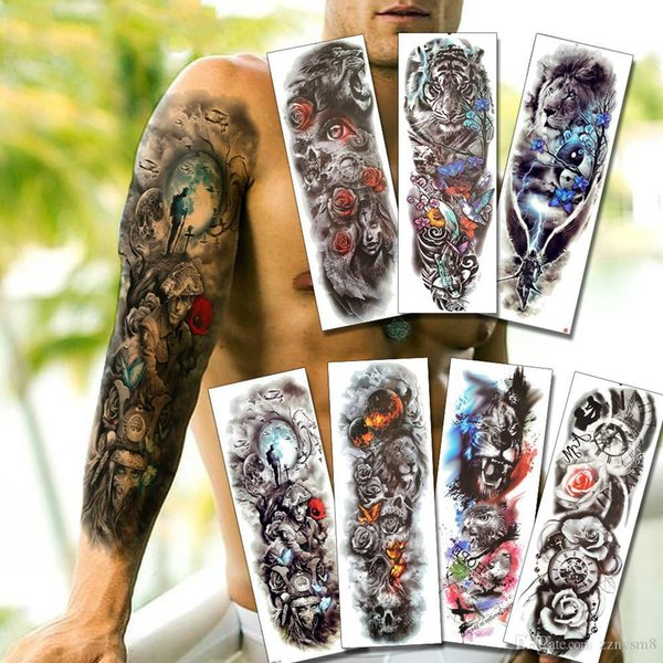 Warrior Soldier Black Temporary Tattoo Stickers For Men Full Body Art Arm Sleeve Tattoo 48*17CM Large Waterproof Tatoo Girl Bikini