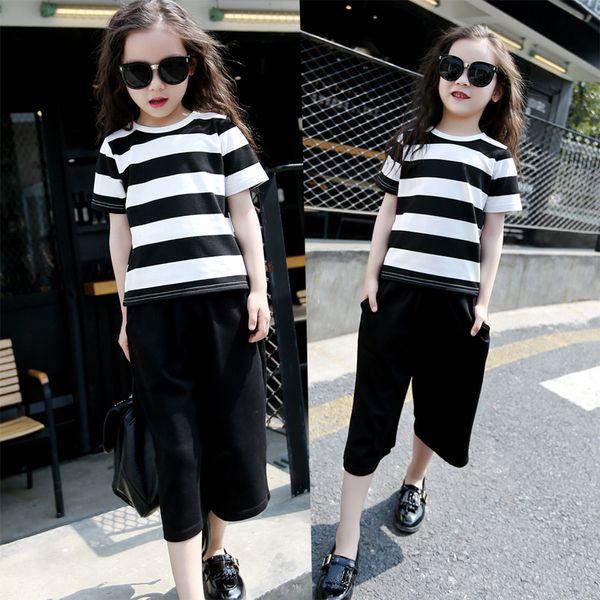 Summer Girls Clothing Set Junior Kids T-shirt a righe bianche e nere con pantaloni larghi 2 PC Outfit Abbigliamento casual per bambini