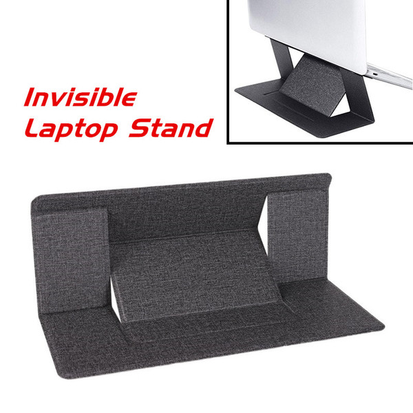 Portable Ultra-Thin Invisible Laptop Stand Black Holder Detachable Adjustable