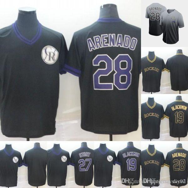 Mens Colorado 28 Nolan Arenado 19 Charlie Blackmon 27 Trevor Story 100% Stitched Rockies Baseball Jerseys Cheap Fast Shipping