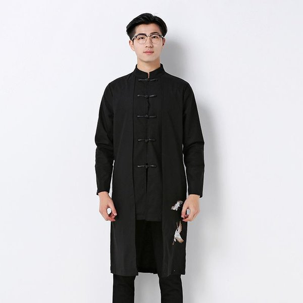 Abrigo Hombre Real Nice Mens Overcoat Trench Coat Factory Direct Sales Improved Chinese Winter Wind Hanfu Sleeved , Collar Men