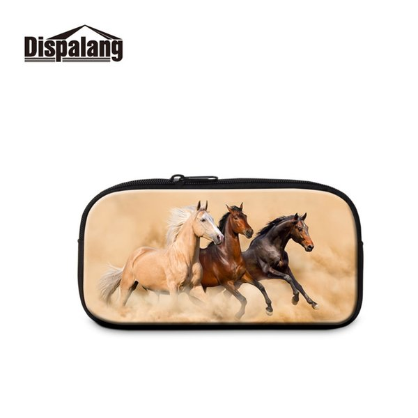 Print Horse Picture on Cosmetic Bag Stationery Clearance Sale Pencil Case High Capacity Eco-friendly Office Zip Lock Pen Pouch