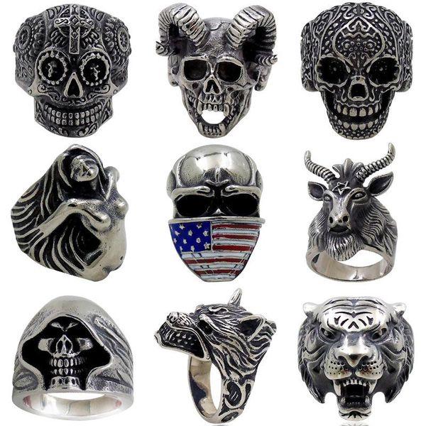 Wholesale Skull Men Ring New Retro Jewelry Skeleton Pattern Man Gift Biker Rings for Men Punk Ring US Size