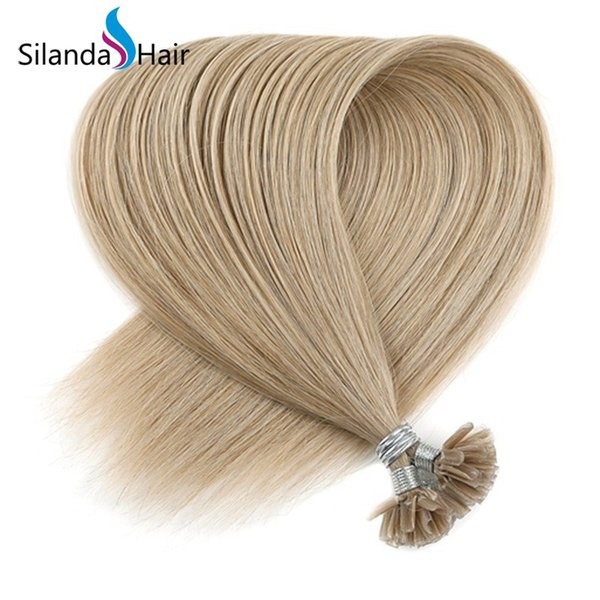 Silanda Hair Cheap #18K Straight 100% Remy Hair Nail Tip Pre Bonded U Tip Hot Fusion Human Hair Extensions 50 strands/pack Free Shipping