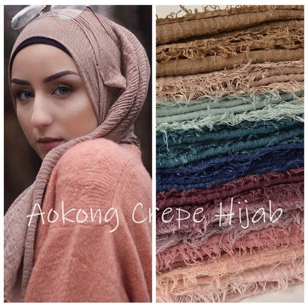 10pcs/lot women maxi crinkle hijabs shawls oversize head wraps soft long muslim frayed crepe premium cotton plain hijab scarf V191205