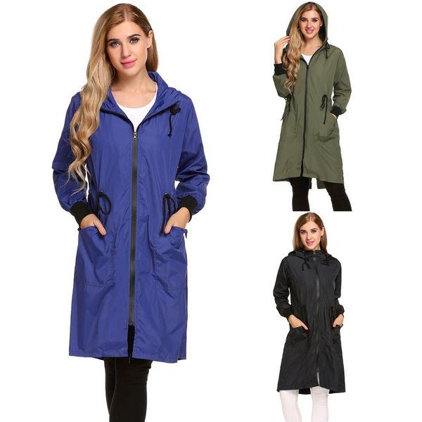 Frauen mit Kapuze Langarm leichte lange Regenjacke Regenmantel