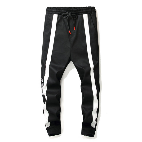 Pop2019 Pattern Men's Will Crotch Haren Bound Feet Nine Part Come To A Stop Jeans Man Sports Pants Tide