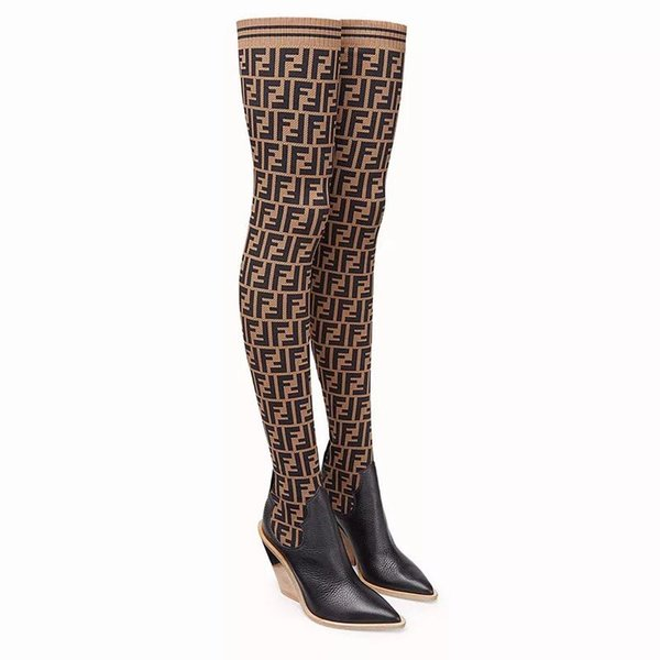 Hot Sale Designer Women Thigh High Boots Chunky Heels Pointed Toe Winter Shoes Mixed Color Stretch Black Lady Warm Boot