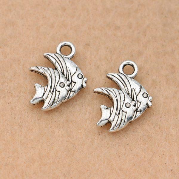 Pesce placcato 100pcs d'argento antico del pendente di fascino misura i monili DIY della collana del braccialetto Fare Accessori 15x12mm