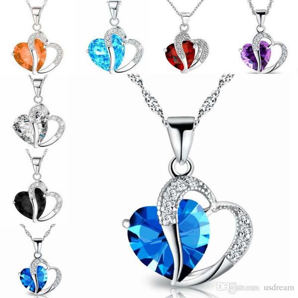 Azul Rojo Rhinestone Crystal Heart Love Forever Collar de Plata Amantes de la Cadena Collares de Compromiso para Las Mujeres Joyería de Moda DROP SHIP 162078