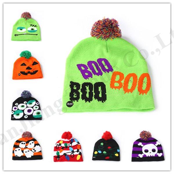 Ins Kids Bebê Led Malha Chapéus Halloweens Abóbora Boneco De Neve Adorável Pom Crânio Cap Bebê Mãe Quente Beanie Crochet Hat Festa de Natal Adereços B82104