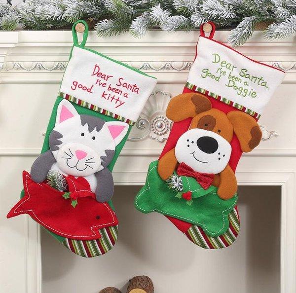 Compre Medias De Sobres Para Mascotas Decoración Navideña Perro Gato Sobres Calcetines Para Mascotas Decoración Navideña Para El Hogar Regalos De