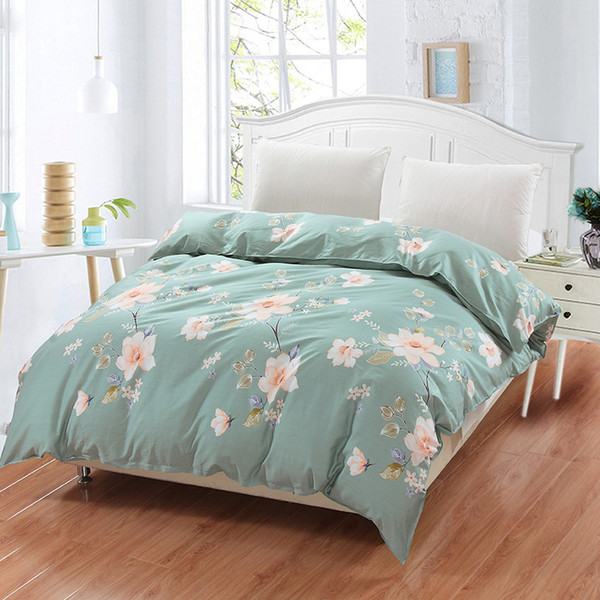 New 100% cotton duvet cover Printed colored plaid quilt case for bed twin full king queen size brief blue white flower style