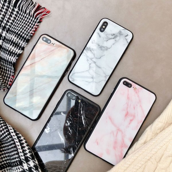 caja del teléfono móvil de vidrio templado de lujo de la moda de Nueva mármol para el iPhone 11 / pro max / x max / 7 8 6 más el vidrio a prueba de golpes contraportada