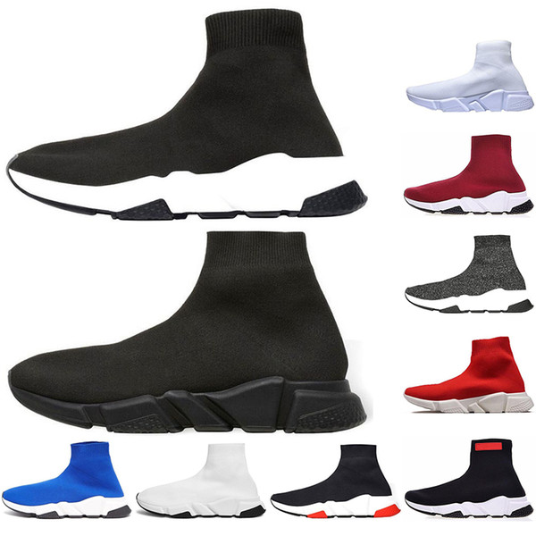 With Socks fashion Best Quality Speed Trainer Black Designer Sneakers Men Women Black Red Casual Shoes Fashion Socks Sneaker Top Boots 36-45