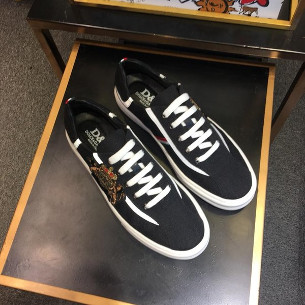 2019r summer new crown embroidery trend men's shoes, casual and comfortable lace-up sneakers, original box packaging 38-44