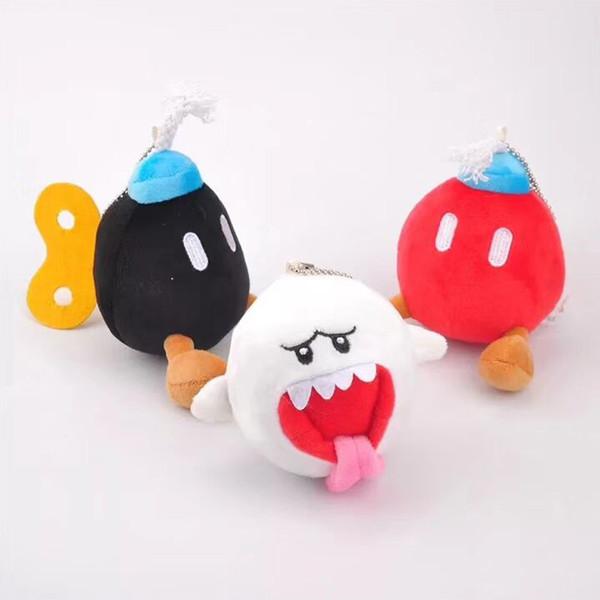 New 10CM Super Mario Bros White Boo Ghost Black Red BOB-OMB BOMB Plush Doll Pendant