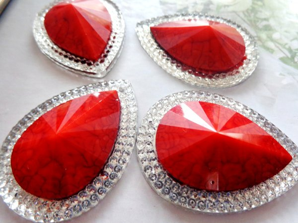 30*40mm Red AB colour big rhinestones sew on stones resin crystal drop shape flatback gem stones free shipping 20pcs/lot
