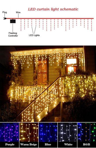3,5 mt 220 v EU Stecker Droop Vorhang Eiszapfen String Licht Weihnachten LED Licht Weihnachten Outdoor Dekoration Leucht Ornament Haus Indoor Party Decor