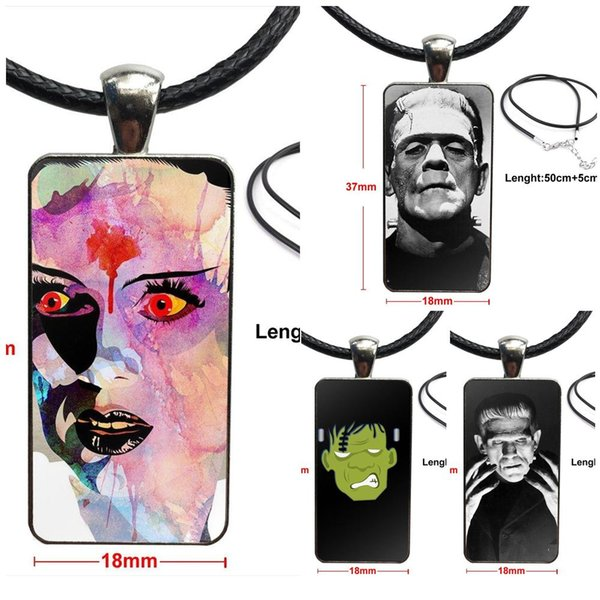 Frankenstein 1931 Adorável Excelente Cadeia Colar Moda Longo Com Colar Retângulo Jóias para a declaração da mulher do vintage