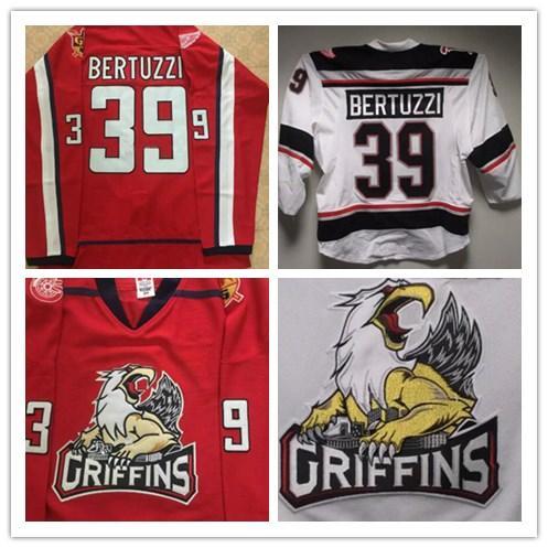 Hombres # 39 Tyler Bertuzzi CC Finales Grand Rapids Griffins Juego HOCKEY JERSEY nombre número Bordado cosido Personalizar camisetas