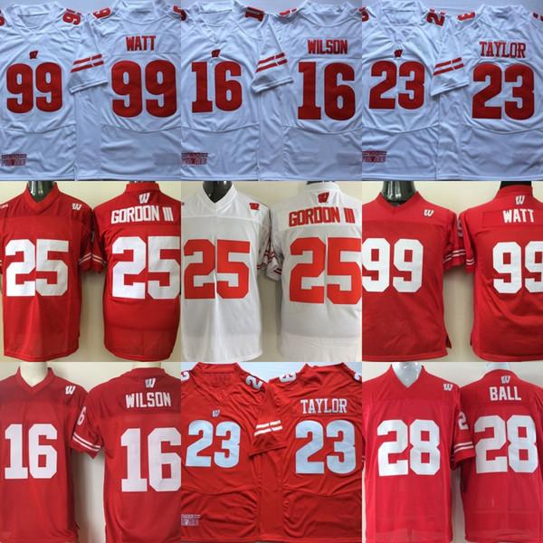 Wisconsin Badgers College-Trikots 23 Jonathan Taylor 16 Russell Wilson 99 JJ Watt Rot Weiß Genähte College-Football-Trikots