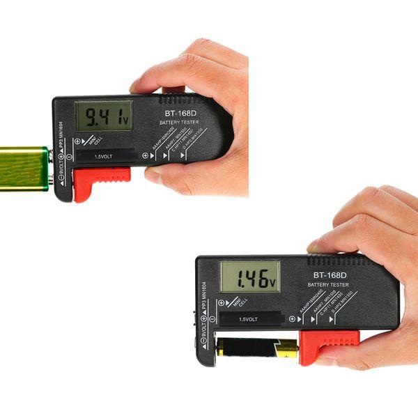 Evrensel Dijital Düğme Hücre Pil Test Cihazı Volt Checker C / D / 9 V / 1.5 V Piller Test
