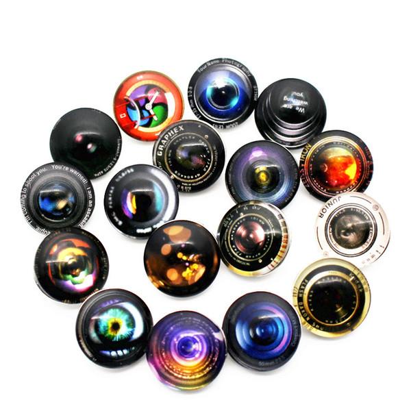 20 adet / grup 18mm kamera severler kafatası haç Cam Yapış Düğmeler Charms Fit Yapış Bileklik Kolye DIY Takı E posta hazine