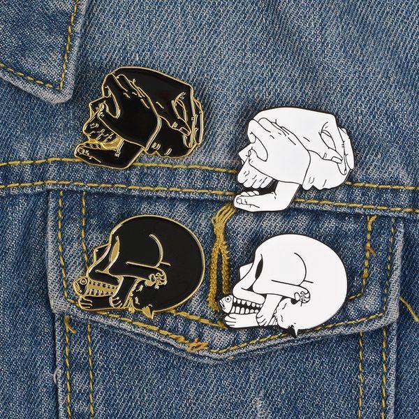 Punk Fashion Skull Pin Black White Enamel Badge Cat eat fish Five hands Skeleton Brooch Creative Jewelry Make you very cool