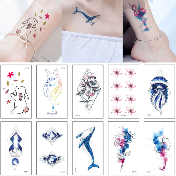 Mysterious Blue Style Tattoo Sticker Colored Drawing Fake Fish Jellyfish Small Flower Bear Birds Decal Waterproof Temporary Tattoo Cute Kids