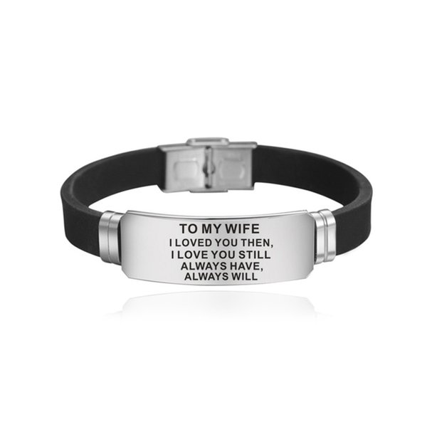 To My Wife Bracelet Lost Without You Love You Always Stainless Steel Bracelets Gifts for Wife Silicone Bracelets Wholesale