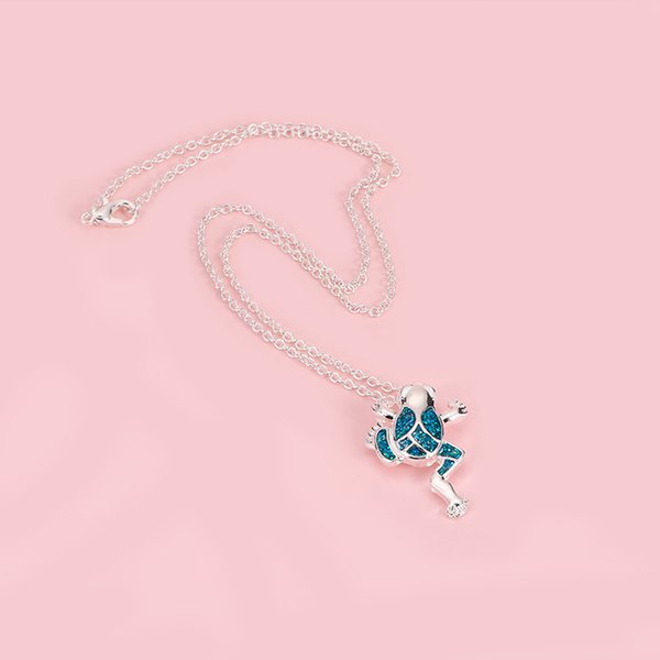 Charm Necklace Blue Frog Pendant Necklaces For Women Men Party Jewelry Christmas Gifts