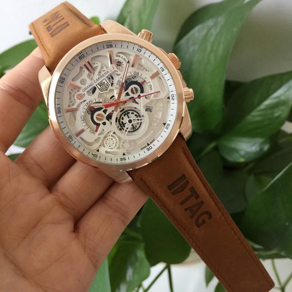 TAG Uhren Marke 3TAM Quarzuhr Casual Fashion Leder Uhren REloj Masculino Herrenuhr wasserdicht automatische Kalenderuhren