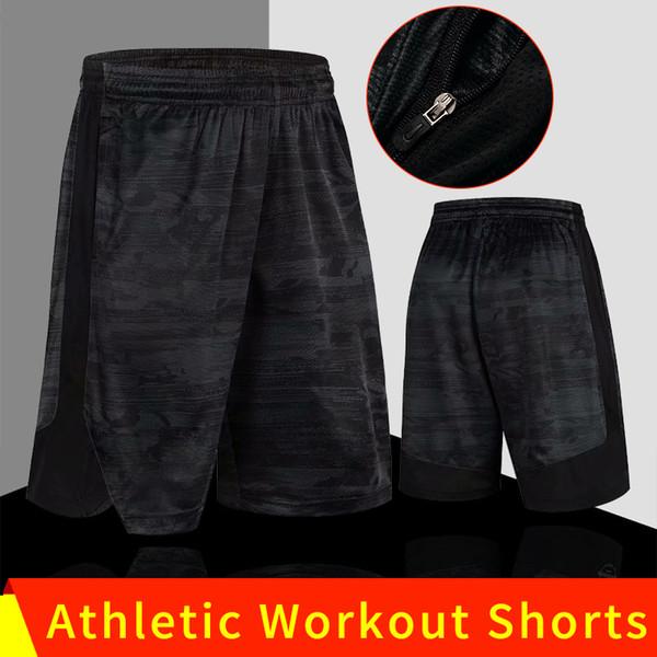 Herren Jogging Shorts mit großer Größe Herren Laufshorts Athletic Workout Shorts Bodybuilding Ausgestattetes Training Kurze Hose mit Reißverschlusstaschen