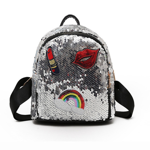 School Bag For Girls Small Hologram Bag Sequins Laser With Sparkles Lips Lipstick Children's Backpacks For Girls Mochila Escolar J190627