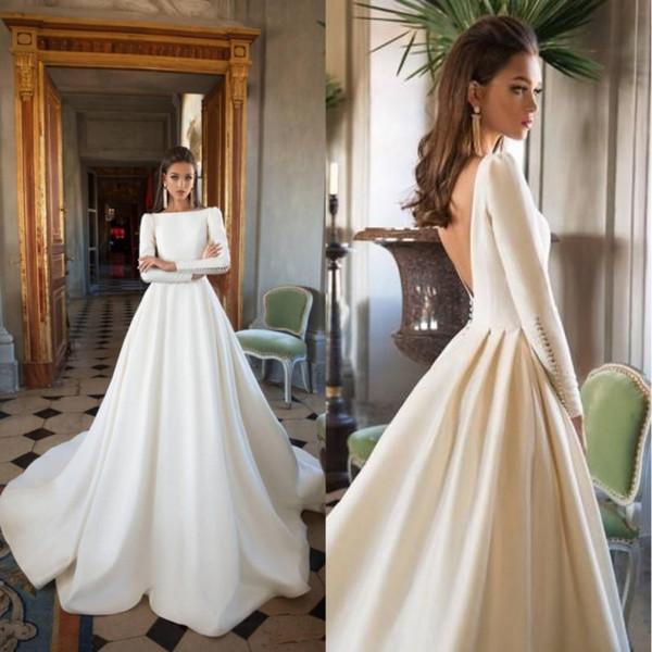 Diseñador de 2019 Vestidos de novia de Milla Nova Una línea Tren sin barrido Vestidos de boda de manga larga Vestido de novia de invierno con cuello barco y tallas grandes