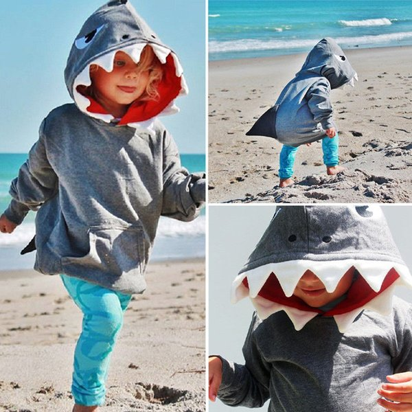 best selling Toddler Kids Baby Boys Shark Hooded Tops Hoodie Jacket Coat Outerwear Clothes