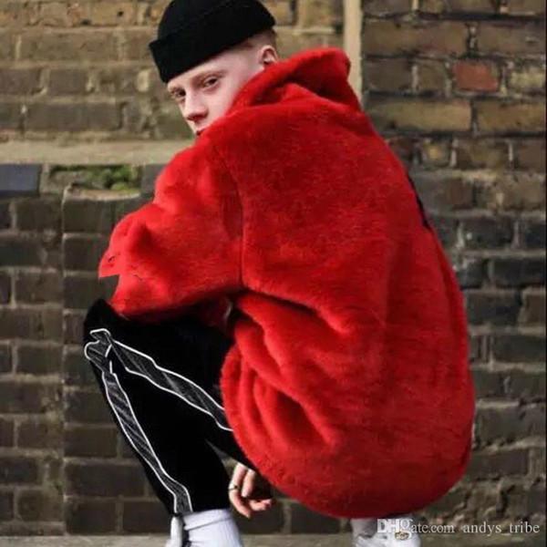 17fw Sp Faux Fur Bomber Jacket Fur Letter Coats Couple Fashion Black Red Artificial Fur Warm Outerwear S~xl Hfjk008