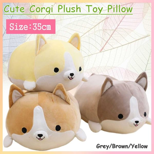 35cm Cute Corgi Dog doll pillow Shiba Inu plush toy holding sleeping doll Stuffed animal pillow gift for baby