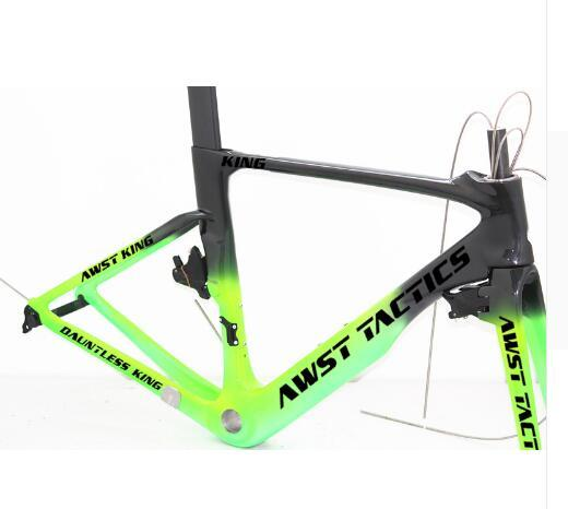 Made in china bike carbon frame +handlebar+breaks UD glossy finished green black AWST full carbon frame 49/52/54/56/58cm free shipping