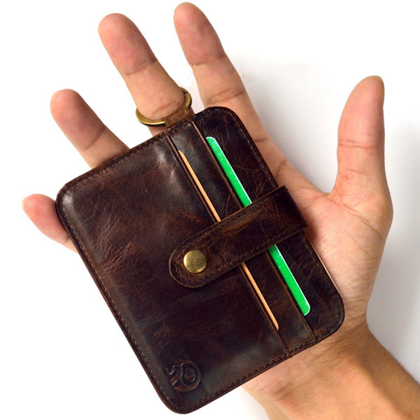 Mini Wallets Hasp Small Purse 100% Real Leather Wallet Men Purses Male Clutch Women Crazy Horse Leather Vintage Style Thin