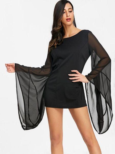 AHVIT Big Flare Sleeve Voir à travers la robe sexy Backless Package Hanche gaine Party Dress Femmes Noir Couleur O Cou MK-A0776