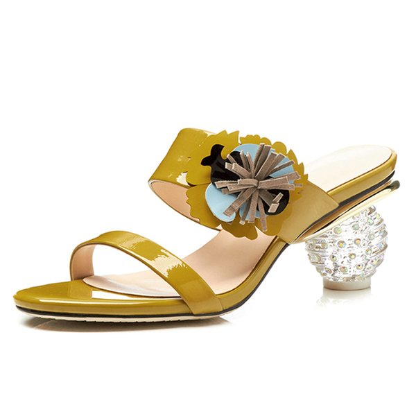Yellow Leather Women Mules 7 CM Crystal Chunky Heels Sexy Open-toe Summer Slippers Party Pumps Woman Box packing T2-39