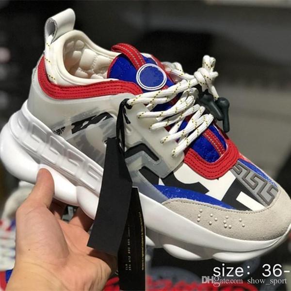 Catena di vendita calda w1 Designer di lusso Sneakers Mens Trainers legati a catena Scarpe sportive da corsa per donna